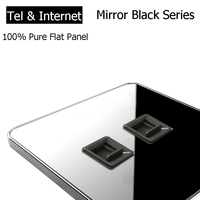 Coswall Brand RJ45 Internet Socket Luxury Wall Network Outlet With Telephone Jack Acrylic Crystal Mirror Panel