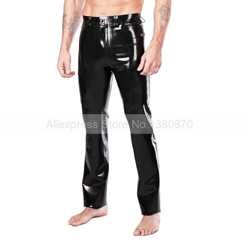 Pantalon en caoutchouc solide noir Sexy pour homme en Latex pantalon en caoutchouc sur mesure pour S-LTM019