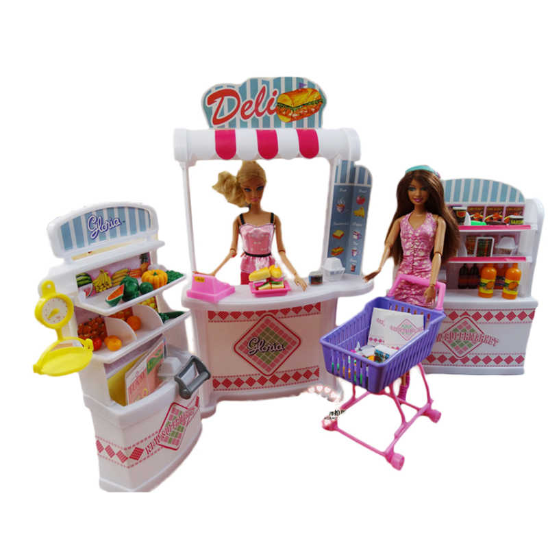 Super Doll House Combination Supermarket Furniture Set Shelves + Checkout Counter + Shopping Cart Accessories for Barbie Girl