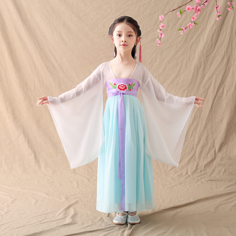 Girls Ancient Dramaturgic Dress Lovely Kids Guzheng Perform Costumes Children Ancientry Fairy Princess Clothing Cosplay 092507