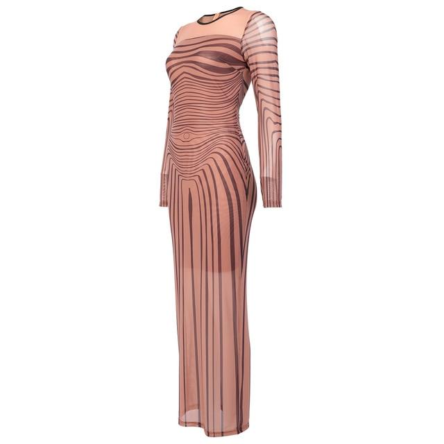 Kim Kardashian Outfit Sexy Dress Sinuous Stripe Bodycon Sheer Mesh  4