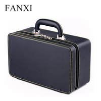 FANXI Free Shipping Wooden Jewelry Packing Case With Gray Velvet Insert For Ring And Pendant PU