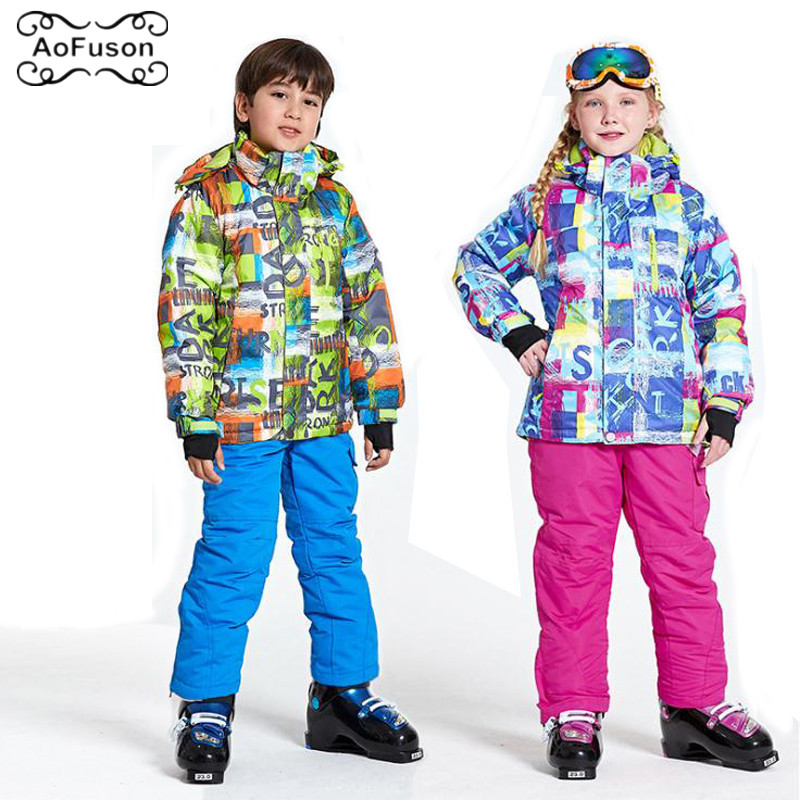 Garçons filles Ski costume ensemble enfants imperméable coupe-vent neige pantalon + vestes ensemble Sports d'hiver enfant épaissi chaud Snowboard vêtements