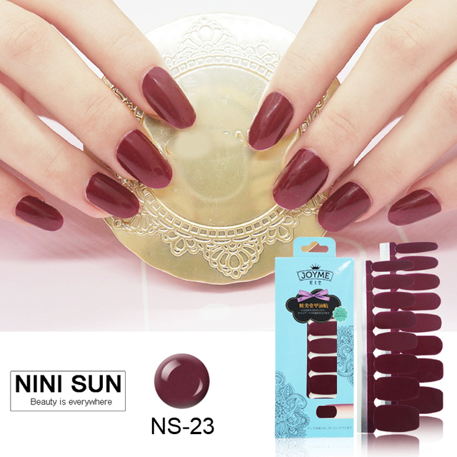 16pcs Real Nail Polish Strips Art Sticker Self Adhesive Gel Patch Manicure
