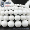 Ceramic white stone beads Natural Stone Top quality Round Loose beads ball 4/6/8/10/12MM Jewelry bracelet accessories making DIY