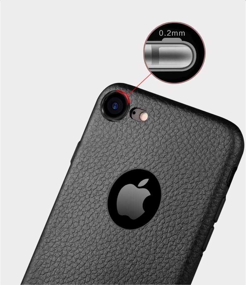 Dla iphone 7 plus iphone 7 case silicon ultracienkich tpu miękka skóra wzór case dla iphone 6 6s plus logo hole back cover czarny 12
