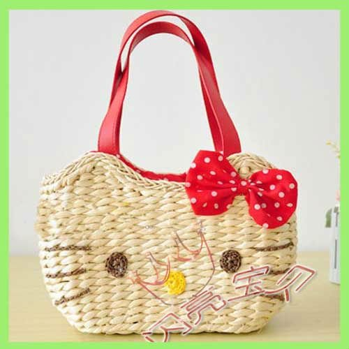 Free Shipping 5pcs Lady Bag Hello Kitty Straw Bag Red Colorful Mix