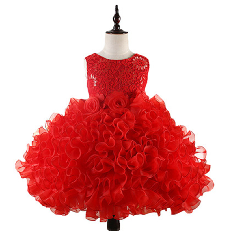 Flowers Girl Dress Party Birthday wedding princess Toddler baby Girls ball growns Clothes Children Kids Girl Dresses red/pink baby girl baptism dress sleeveless flowers wedding vestido infants girls clothes princess dresses 3 10 year birthday party dress