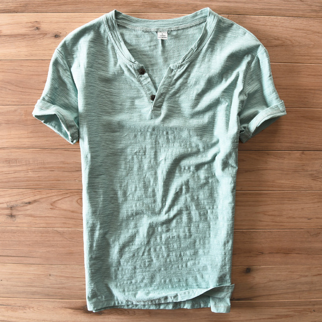 15f8ca475c3b Men's V-neck short sleeve Bamboo Cotton t-shirt white green blue summer  casual t-shirts men cotton tees for men tops for male