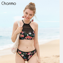 Charmo Women Bikini Set 2019 Vintage Floral Print Mesh Swimwear Hollow out Swimsuit Bathing Suit Sexy Beachwear Sexy Bikini