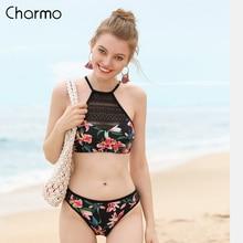 Charmo Women Bikini Set Vintage Floral Print Mesh Swimwear Hollow out Swimsuit Bathing Suit Sexy Beachwear Sexy Bikini цена 2017