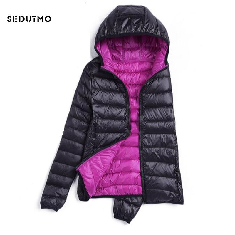 a1e3b8f24a0 Sedutmo зима ультра легкий женские пуховики плюс Размеры 3XL пуховое пальто  с капюшоном короткий тонкий пуховик
