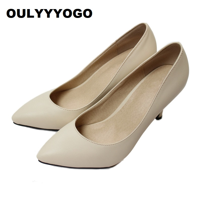 OULYYYOGO Candy Colors Concise Dress Shoes Sheepskin Pumps High Heels Women's Shoes Shallow Mouth Genuine Leather Size: 33--41