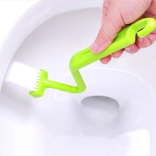 Hot sell Bending toilet brush side corner cleaning brush Bathroom Accessories Curved Handle Ceramic free shipping