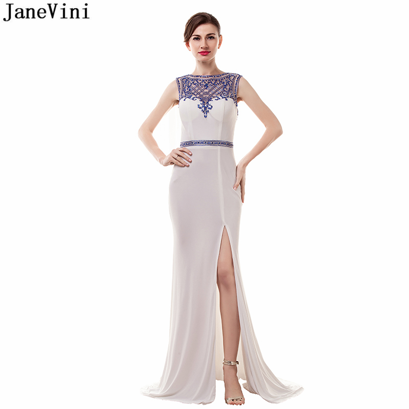 JaneVini Vintage Dubai Mermaid Mother of The Bride Dresses Luxury Evening Dress O Neck Heavy Beading White Sexy Evening Gowns
