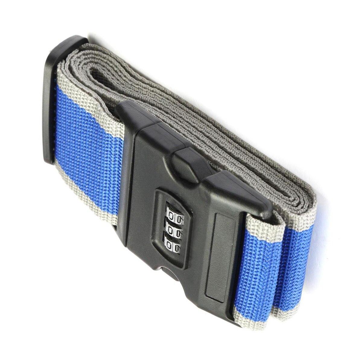 Safety belt Belt Lock Combination Travel Luggage Suitcase band color:Blue + Grey maritime safety