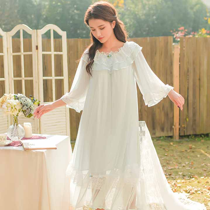 Spring Summer Woman Princess   Nightgown   Lace Sleeve Lace Sleepwear Dress Three Quarter Mesh Patchwork Nightdress