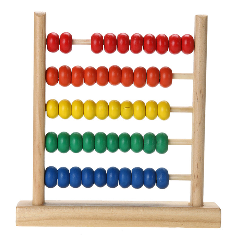 Mini Wooden Abacus Children Early Math Learning Toy Numbers Counting Calculating Beads Abacus Montessori Educational Toy