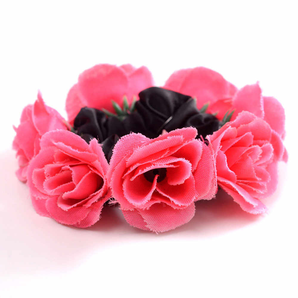 2020 Hot Women Simple Flower Hair Ring Large Solid Color Hair Rope Hair Accessories Head Rope Tied Flower Hair Accessories
