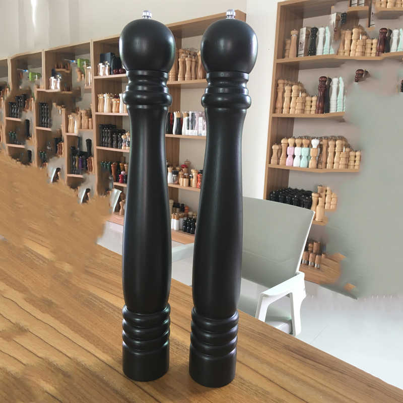Italian Pepper Mill Wood and Pewter Large 22 Inch Pepper Grinder