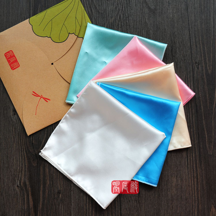 Plain Color Silk Handkerchief Women Fashion Accessories Small Square Hand Kerchief DIY Hand Painting Embroidery Programs 30x30cm