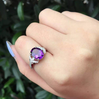 Dainty 7 9mm Oval Natural Amethyst Solid Silver 925 Jewelry Solitaire Gemstone Rings For Women Prong