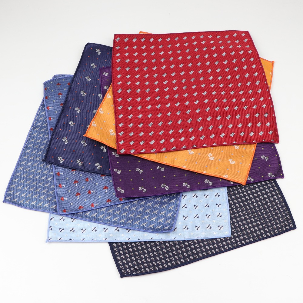 Men Kid Polyester Designer Handkerchiefs Woven Printing Pocket Square Hankies Party Casual Bike Umbrella Dog Car Pockets Hanky