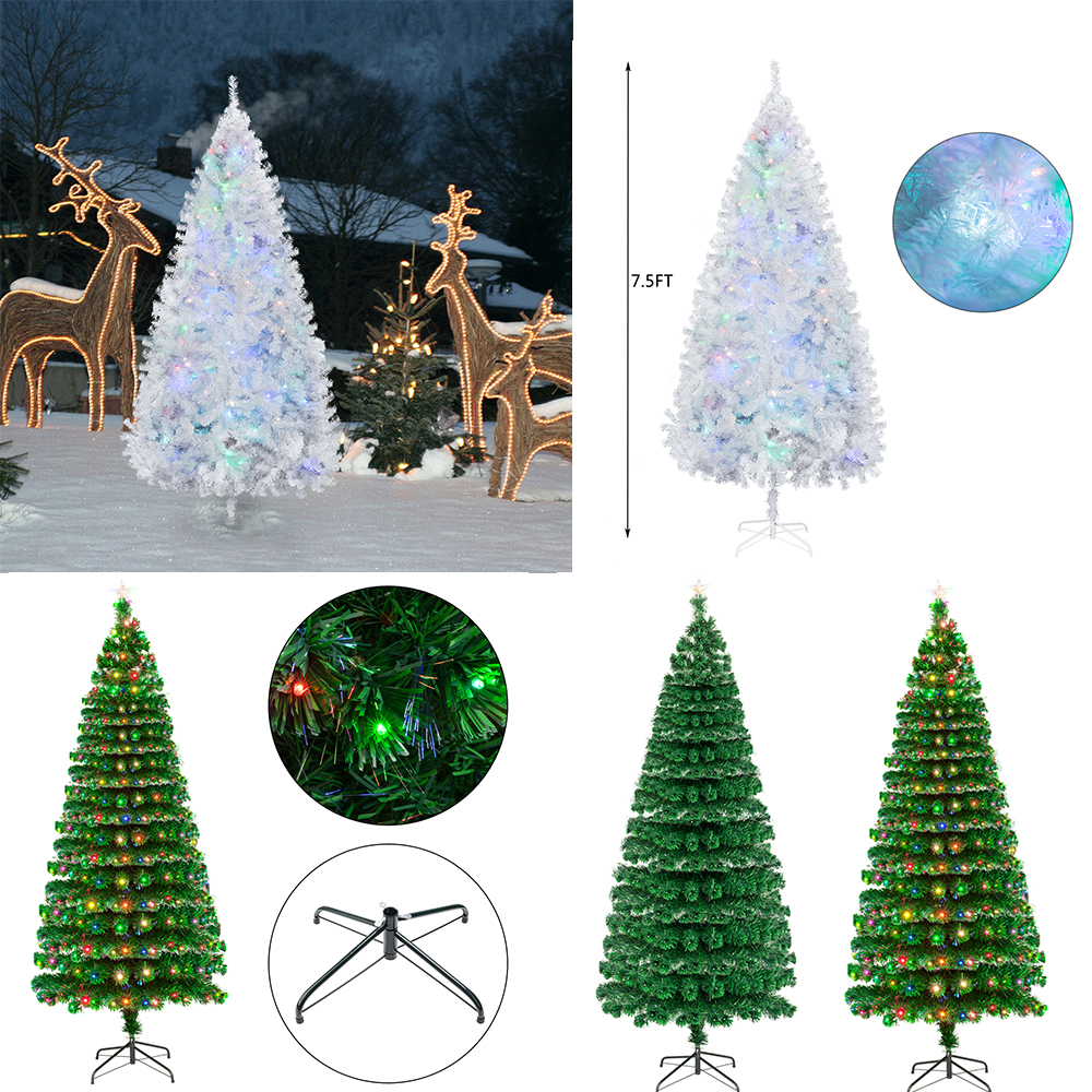 7 5 Fiber Optic Christmas Tree: 7.5FT Fiber Optic White Christmas Tree Xmas Tree With