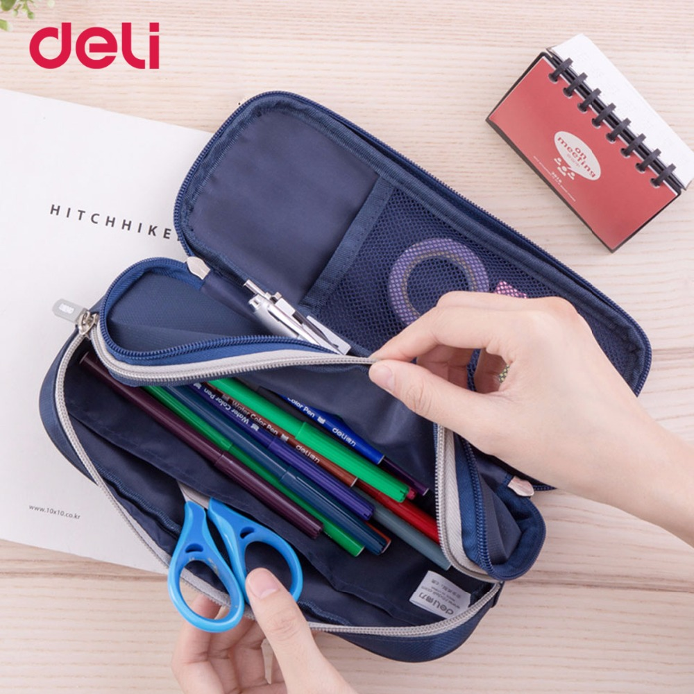 Deli kawaii large space canvas pencil case for school child office organizer stationery supply durable pen bag pouch with zipper