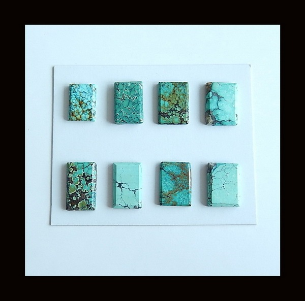 8 PCS Of Natural Turquoise Cabochons,16x10x3/12x9x3mm,6.51g