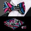 F-685 Hi-Tie Nuevo Diseño Mens Pajarita Set Pañuelo Gemelos Geométrica Del Color Del Caramelo Bowtie Pajaritas de Seda Para hombres Corbatas