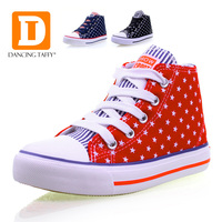 Classic Stars And Stripes Children Shoes 2017 Casual Canvas Rubber Kids Shoes Lace Up Zip USA Flag High Top Boys Girls Sneakers