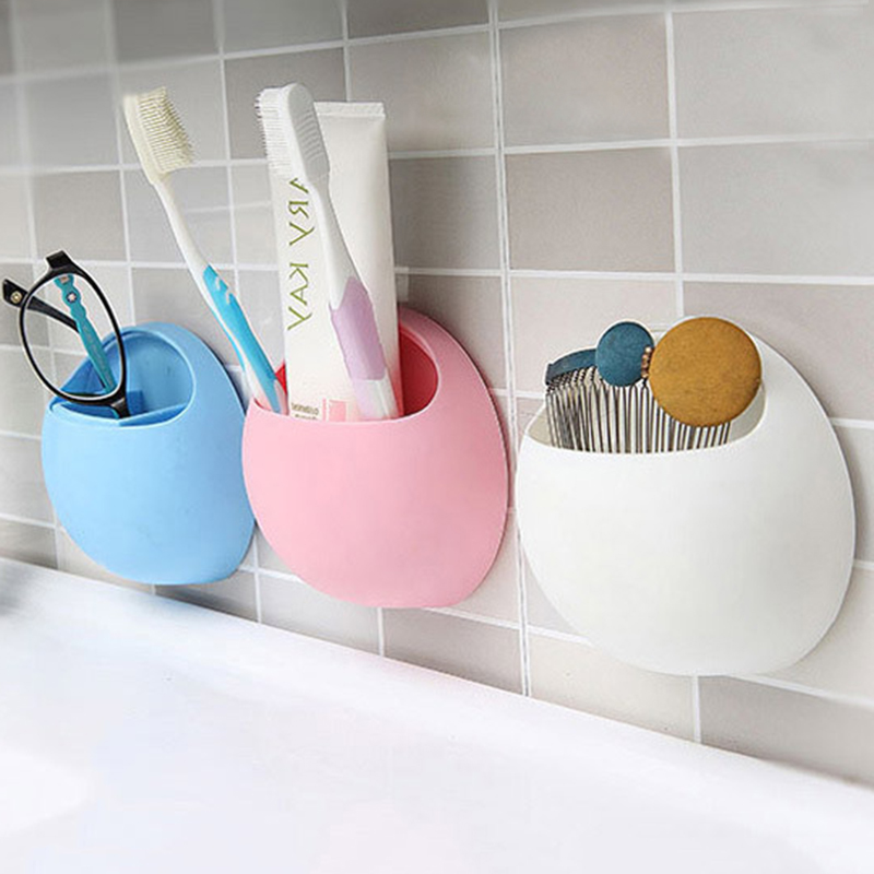 Toothbrush Holder Container Home Accessories Bathroom Wall Mount Holder Strong Suction Cups Organizer Pink Blue White Green image