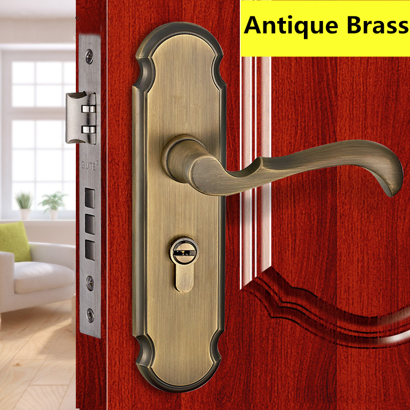 5A497 Antique Brass Modern style Door lock bedroom room bathroom lock with handle lock high quality 6pcs door lever handle lock set interior door lock living room bedroom bathroom door handle lock free shipping