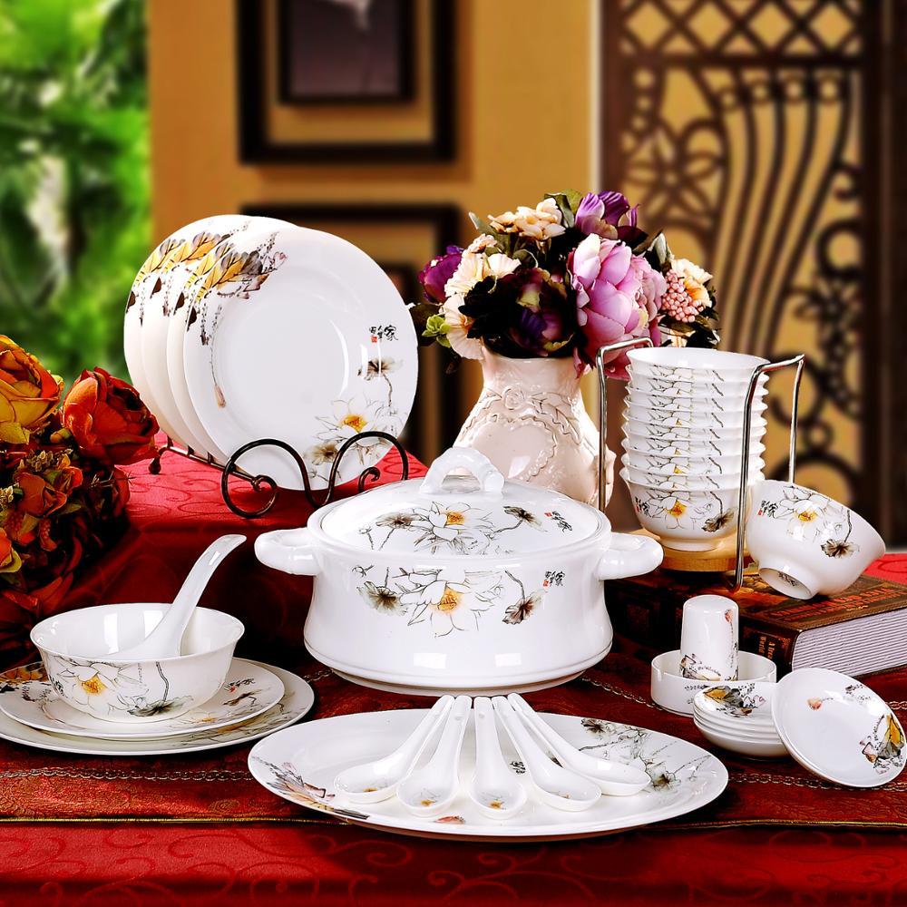 Bowl set 56 Jingdezhen authentic bone china tableware suit pottery bowl spoon coast people
