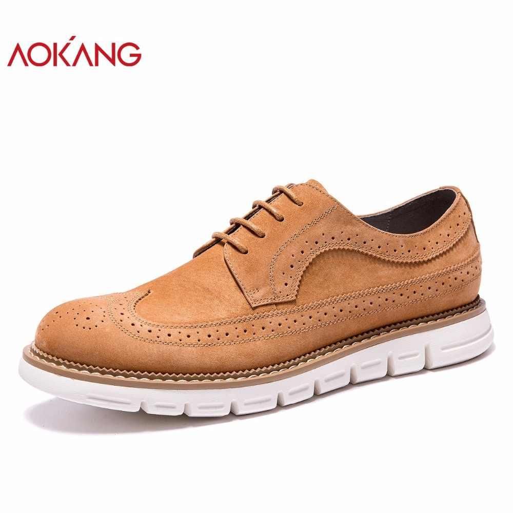 AOKANG/Новое поступление, Мужская обувь из натуральной кожи, мужская повседневная обувь, удобные мужская обувь на плоской подошве, дышащая износостойкая обувь