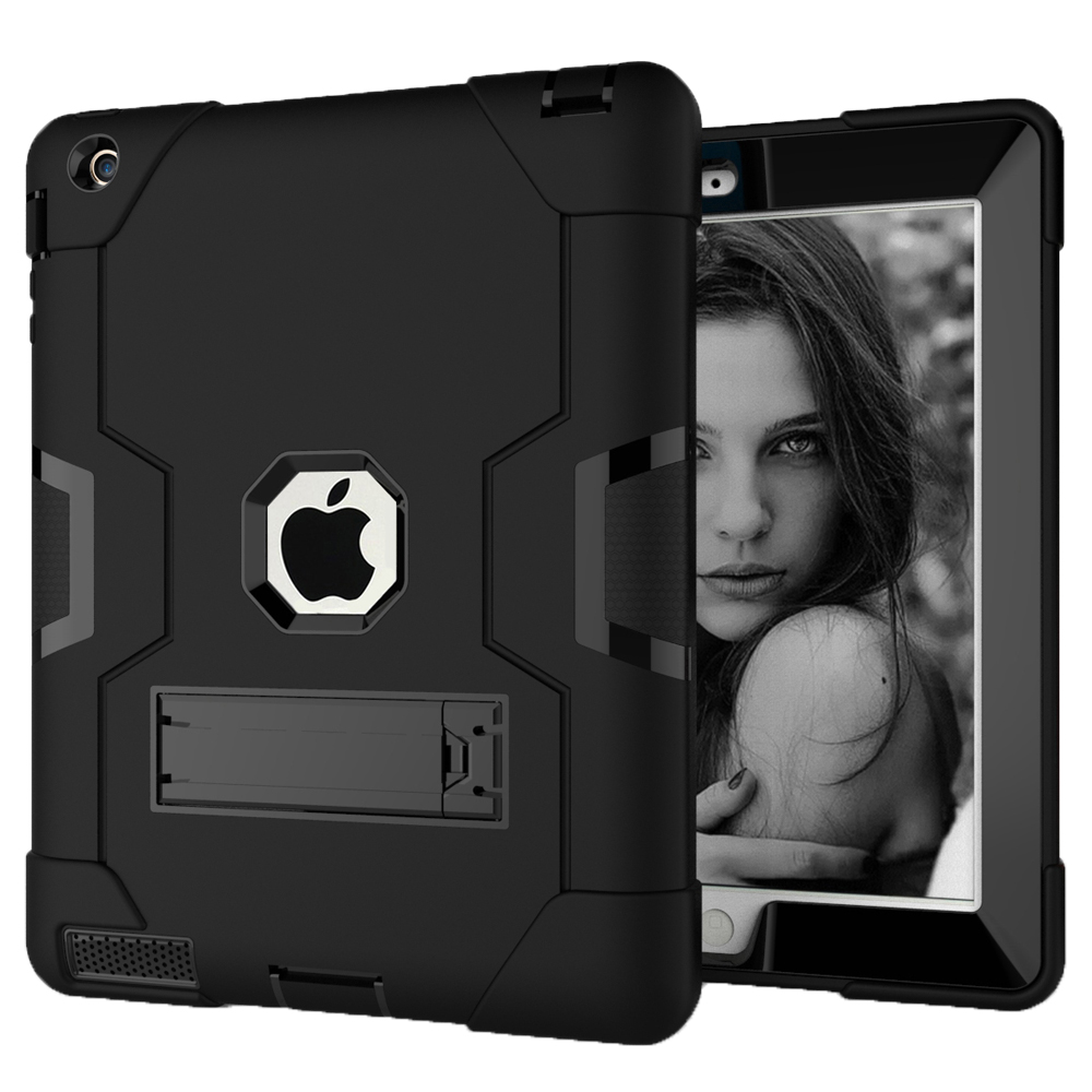 Case For Apple Ipad 2/3/4,Shock-Absorption Three Layer Armor Defender Full Body Protective Case For Ipad 4