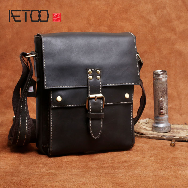AETOO Mens Retro Casual Shoulder Messenger Bag Head Layer Leather Mens Leather hand-made BagAETOO Mens Retro Casual Shoulder Messenger Bag Head Layer Leather Mens Leather hand-made Bag