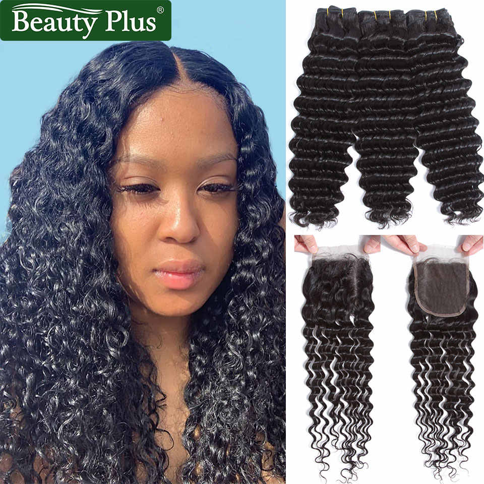 Brazilian Deep Wave Bundles With Closure Beauty Plus Remy Human Hair Tight Curly Can Be Dyed Deep Wave 3 Bundles With Closure