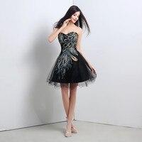 Fashion Appliques Cute Girls Evening Dresses 2019 New Formal Short Black Mini Homecoming Dresses Sleeveless Tulles