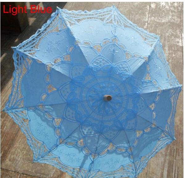 New Lace Umbrella Cotton Embroidery White/Ivory Battenburg Lace Parasol Umbrella Wedding Umbrella Decorations Free Shipping 37