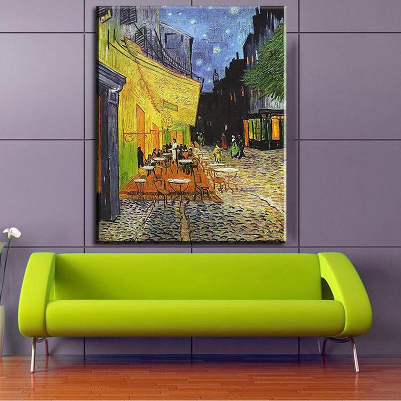 8 27 38 De Descuento Café Terraza Por La Noche Por Los Fabricantes De Pintura De Vicent Van Gogh Para Decoración Del Hogar Idea Pintura Al óleo Arte