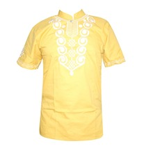 Yellow Africa Embroidery Men`s Dashiki Tops Summer Ethnic Shirts for Wedding