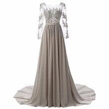 Nueva Moda A-Line Scoop Gasa larga Vestidos de Noche de La Manga Casquillo Vestido de Fiesta Apliques de Perlas Sashes Plisado Vestidos de Noche Elegantes