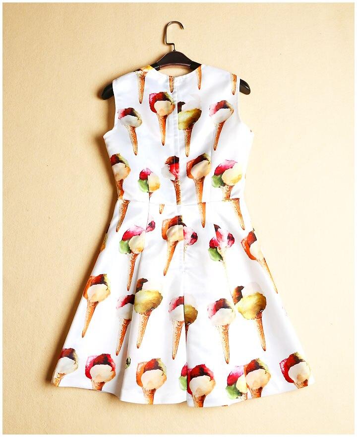 Blanc noir Imprimer Nouveau Robes Robe D'été Crème White Superbe Mince Princesse Mi O Femmes 2017 cou Glacée Designer mollet Mignon 0Cwxvz