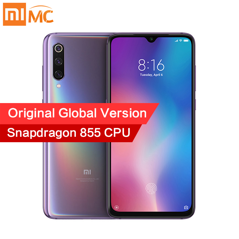 Global Versão Original Xiao mi mi 9 6GB GB Snapdragon 855 48MP 64 AI Triplo Câmera de Telefone Móvel Digital carregamento sem fio NFC