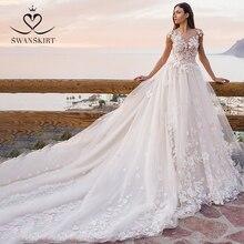 Swanskirt Blumen Ballkleid Hochzeit Kleid 2020 Romantische Appliques backless Perlen Kapelle Zug Brautkleid Robe de mariee OZ05