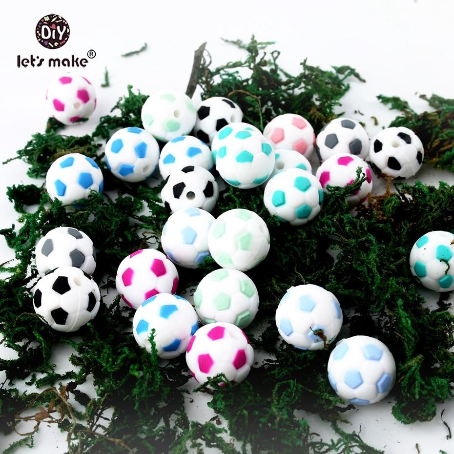 Faisons des perles de Silicone de Football de 50 pcs 15mm accessoires de bijoux à bricoler soi-même de mode Football (lot de 50)