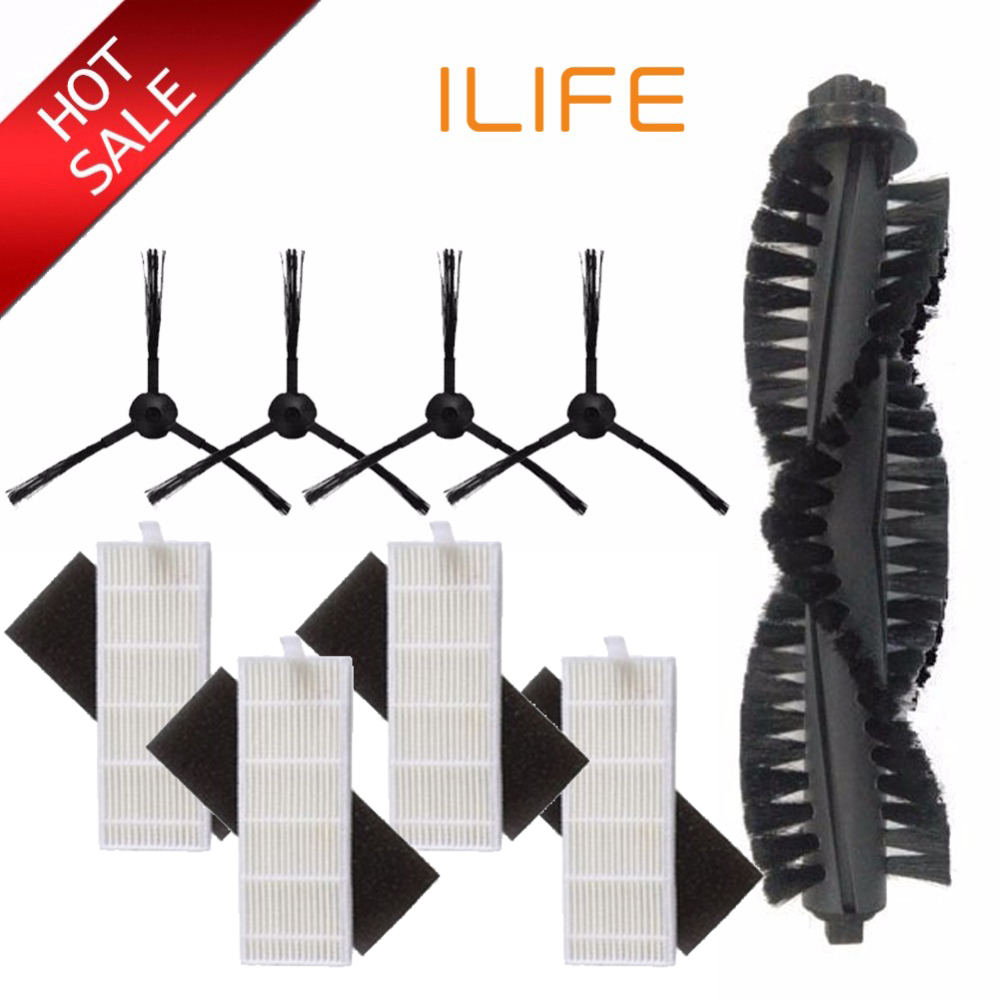 1*Main Brush+4*dust HEPA Filter+4*Side Brush For ILIFE A4s A40 Robot Vacuum Cleaner Accessories Parts