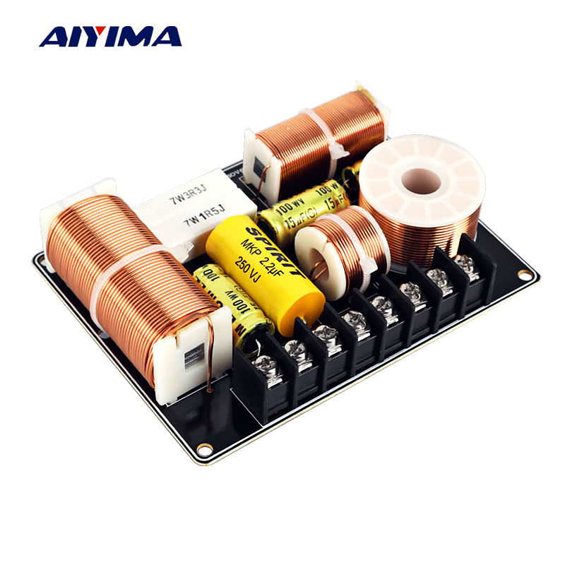 Aiyima 1PC 200W Frequency Divider Treble Midrange Bass Audio Speaker 3 Way Crossover Filter For 4-8Ohm Desktop Speaker DIY